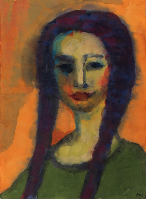 Young girl by Emile Nolde (1867-1956, Germany) | Oil Painting | WahooArt.com