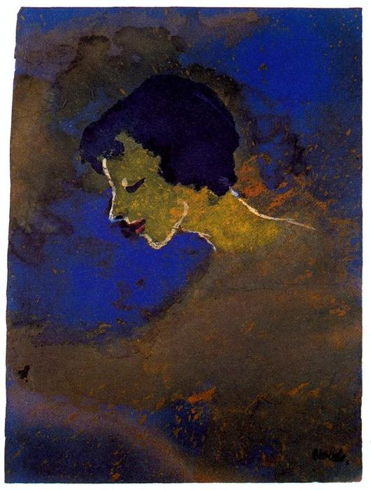 Young Woman in Profile by Emile Nolde (1867-1956, Germany) |  | WahooArt.com