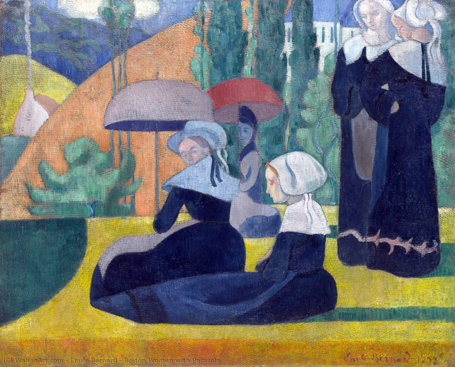 Breton Women with Parasols by Emile Bernard (1868-1941, France) | Famous Paintings Reproductions | WahooArt.com