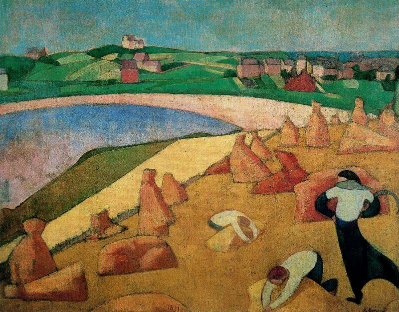 Harvest on the Edge of the Sea by Emile Bernard (1868-1941, France)