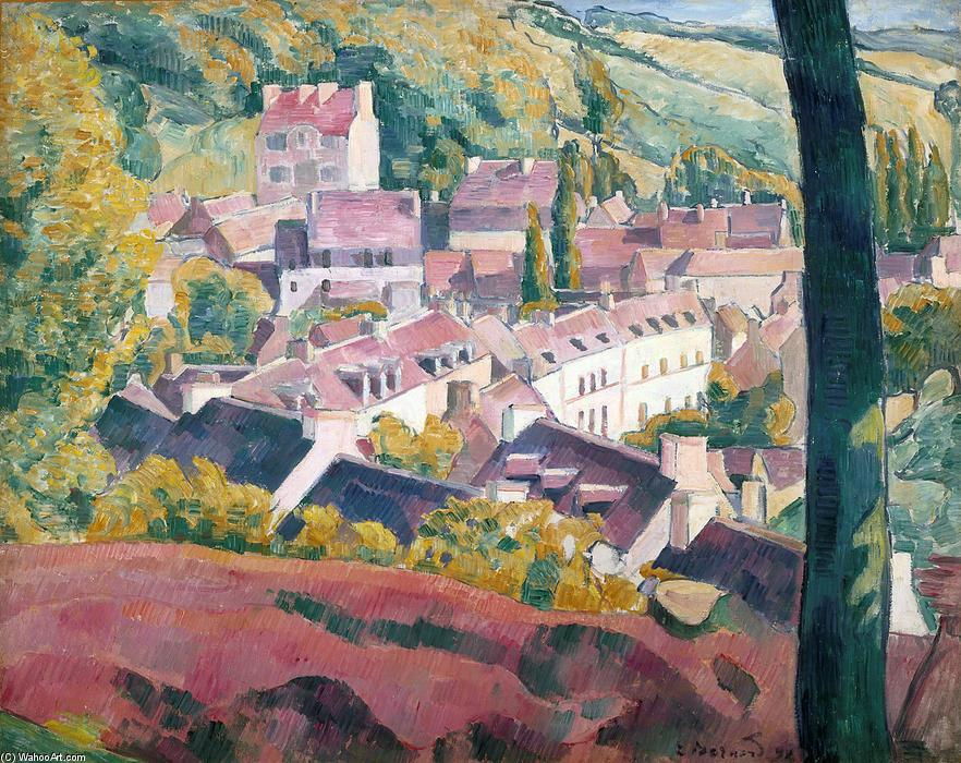 Pont-Aven Seen from the Bois d`Amour by Emile Bernard (1868-1941, France) | Painting Copy | WahooArt.com