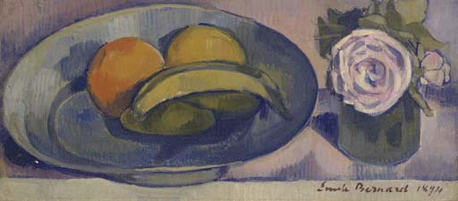 Still Life with Bananas by Emile Bernard (1868-1941, France) | Famous Paintings Reproductions | WahooArt.com