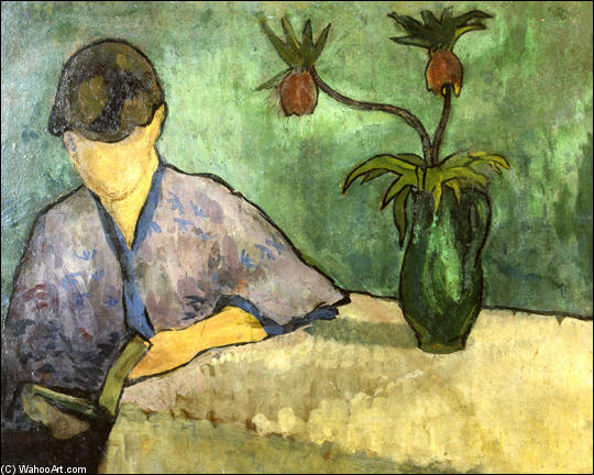 Young Woman in Kimono, Reading by Emile Bernard (1868-1941, France) | Painting Copy | WahooArt.com