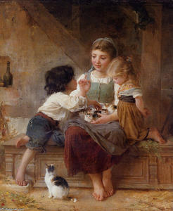 Order Museum Quality Reproductions : A Happy Family by Emile Munier (1840-1895, France) | WahooArt.com