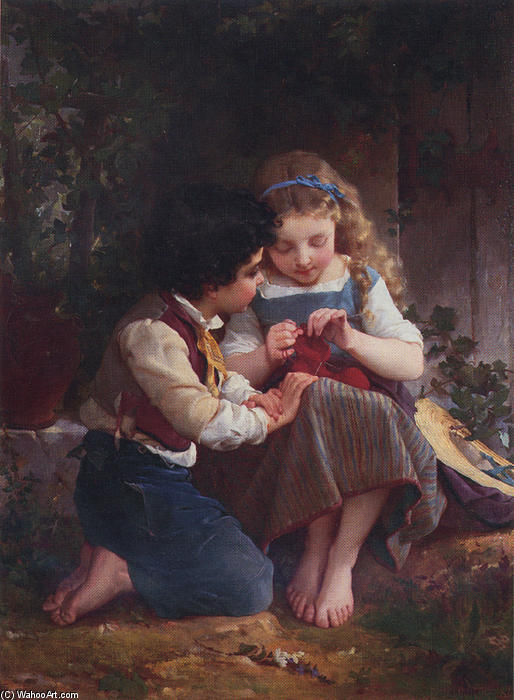 A Special Moment by Emile Munier (1840-1895, France) | Oil Painting | WahooArt.com