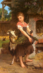Emile Munier - Farm Girl with her Pet Billy Goat