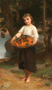 Emile Munier - Girl with Basket of Oranges