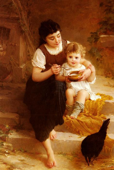 The Big Sister by Emile Munier (1840-1895, France) | Oil Painting | WahooArt.com