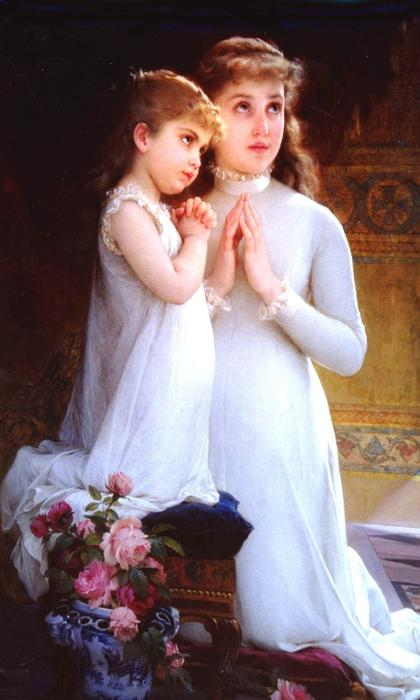 Two Girls Praying by Emile Munier (1840-1895, France) | Museum Quality Reproductions | WahooArt.com
