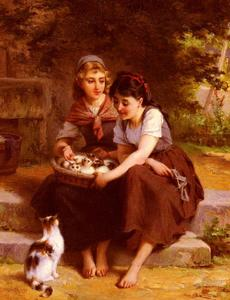 Emile Munier - Two Girls With A Basket Of Kittens