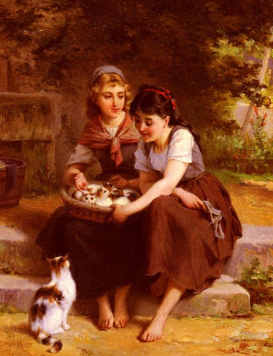 Two Girls With A Basket Of Kittens by Emile Munier (1840-1895, France) | Art Reproduction | WahooArt.com