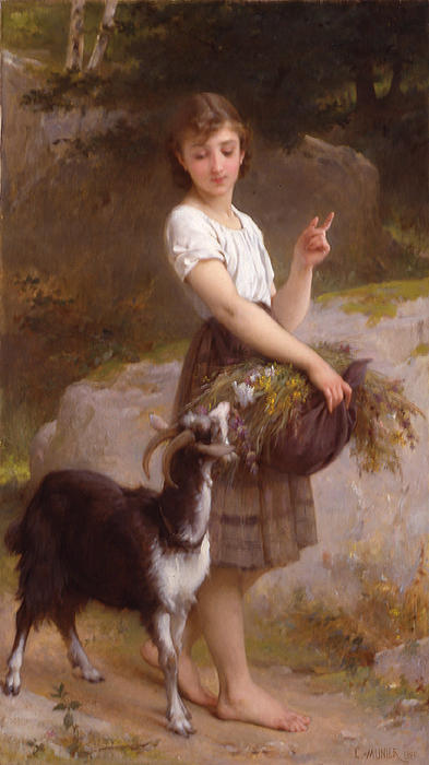 Young Girl with Goat & Flowers by Emile Munier (1840-1895, France) | Painting Copy | WahooArt.com