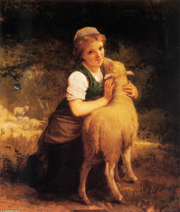 Young Girl with Lamb by Emile Munier (1840-1895, France) | Oil Painting | WahooArt.com