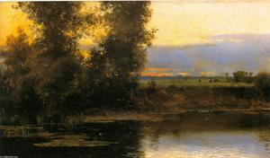 Order Reproductions | Bords de L`Oise by Emilio Sanchez-Perrier (1855-1907, Spain) | WahooArt.com