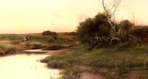 Emilio Sanchez-Perrier - On The River-s Edge At Dusk