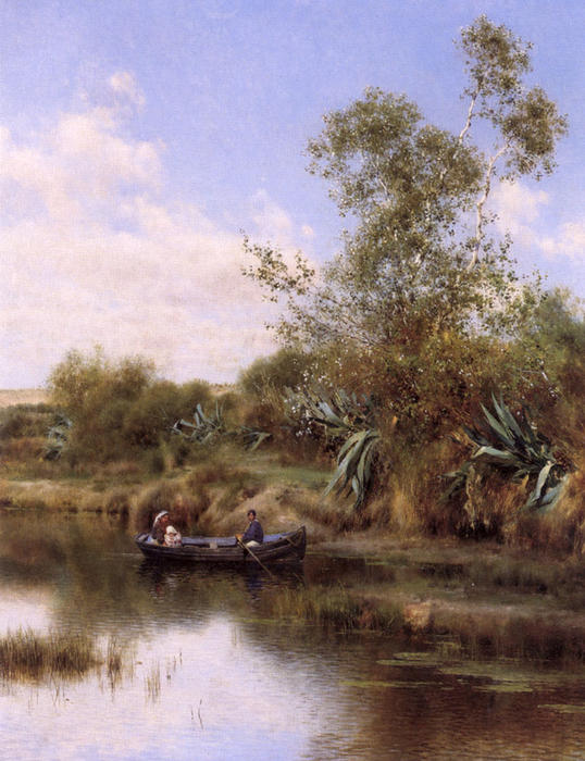 The Boating Party by Emilio Sanchez-Perrier (1855-1907, Spain)