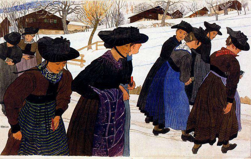 Girls going to church by Ernest Bieler (1863-1948, Switzerland) | Reproductions Ernest Bieler | WahooArt.com
