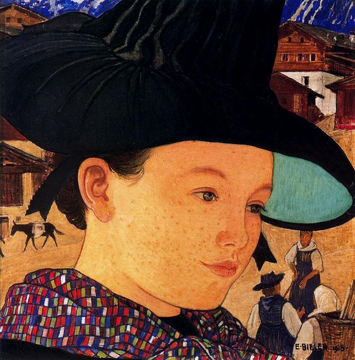 Buy Museum Art Reproductions | Maiden with hat by Ernest Bieler (1863-1948, Switzerland) | WahooArt.com