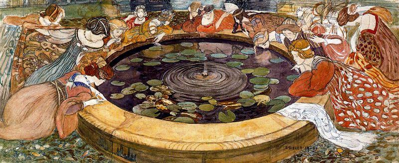 Sketch for ``The mysterious Water`` 1 by Ernest Bieler (1863-1948, Switzerland) | Reproductions Ernest Bieler | WahooArt.com