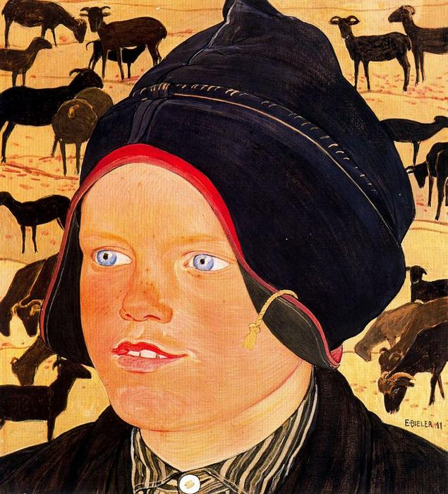 Buy Museum Art Reproductions | The Kid with sheep by Ernest Bieler (1863-1948, Switzerland) | WahooArt.com
