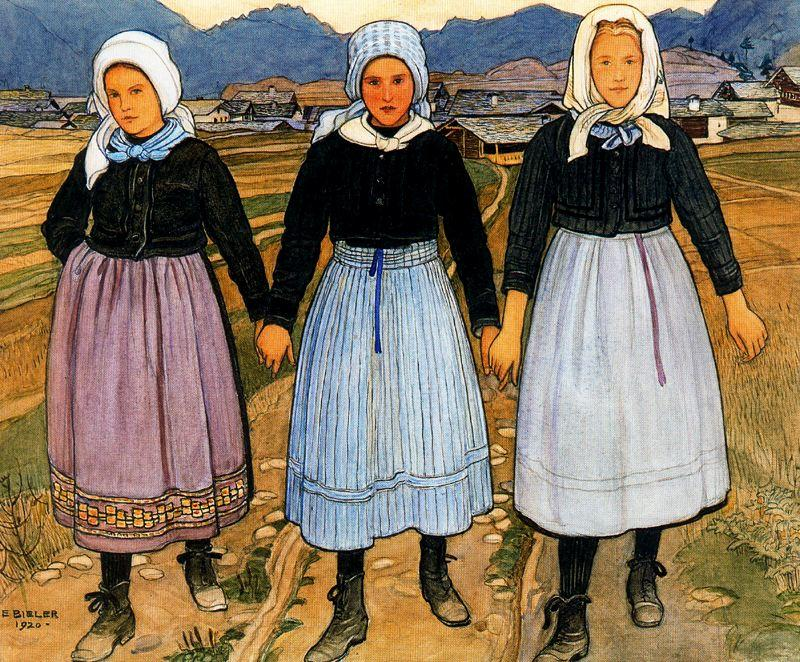 Three Young Girls by Ernest Bieler (1863-1948, Switzerland) | Art Reproduction | WahooArt.com