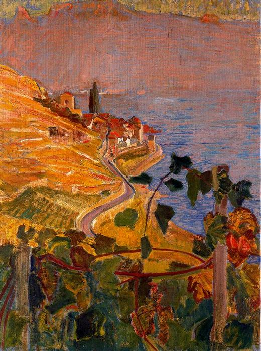 View of St. Saphorin from the house of Montellier by Ernest Bieler (1863-1948, Switzerland)