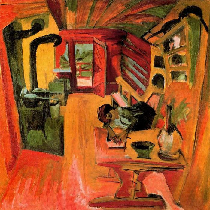 Alpine kitchen, Oil by Ernst Ludwig Kirchner (1880-1938, Germany)