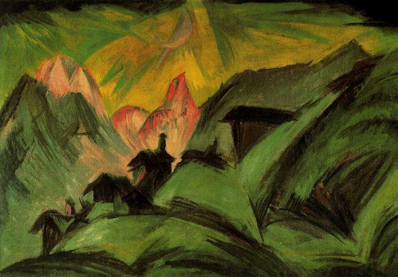 Alpine pasture in the light of the moon, Oil by Ernst Ludwig Kirchner (1880-1938, Germany)