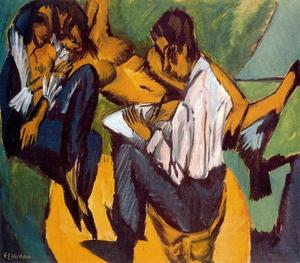 Ernst Ludwig Kirchner - Artist with two women while performing a sketch