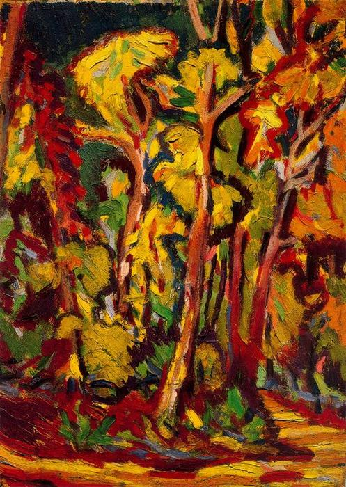 Autumn trees, Oil, Watercolour by Ernst Ludwig Kirchner (1880-1938, Germany)