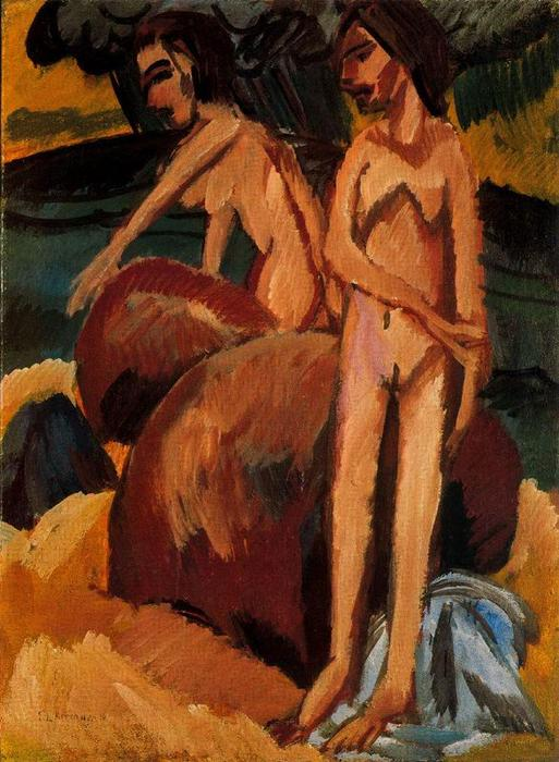 Bathers at Sea, Oil On Canvas by Ernst Ludwig Kirchner (1880-1938, Germany)