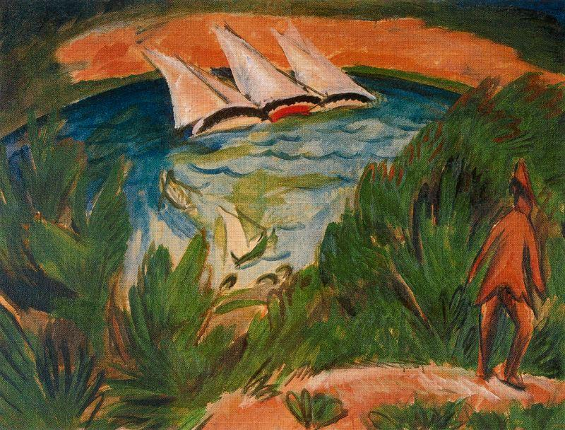 Boats in the storm by Ernst Ludwig Kirchner (1880-1938, Germany)