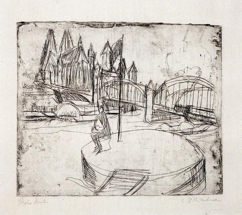 Bridge over the Rhine in Cologne by Ernst Ludwig Kirchner (1880-1938, Germany)