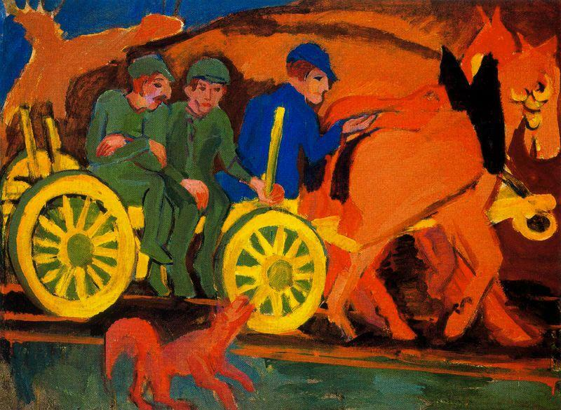 Chariot and horses with three farmers by Ernst Ludwig Kirchner (1880-1938, Germany) | WahooArt.com