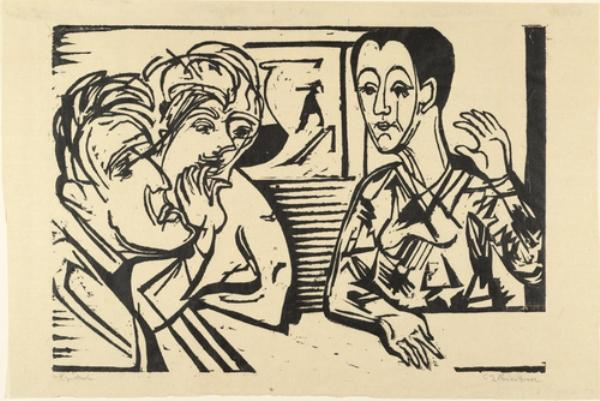 Conversation by Ernst Ludwig Kirchner (1880-1938, Germany) | WahooArt.com