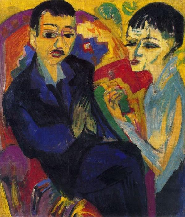 Couple sitting by Ernst Ludwig Kirchner (1880-1938, Germany) | WahooArt.com