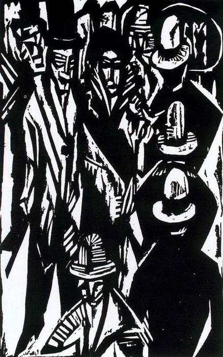 Croud walking down the street by Ernst Ludwig Kirchner (1880-1938, Germany) | WahooArt.com