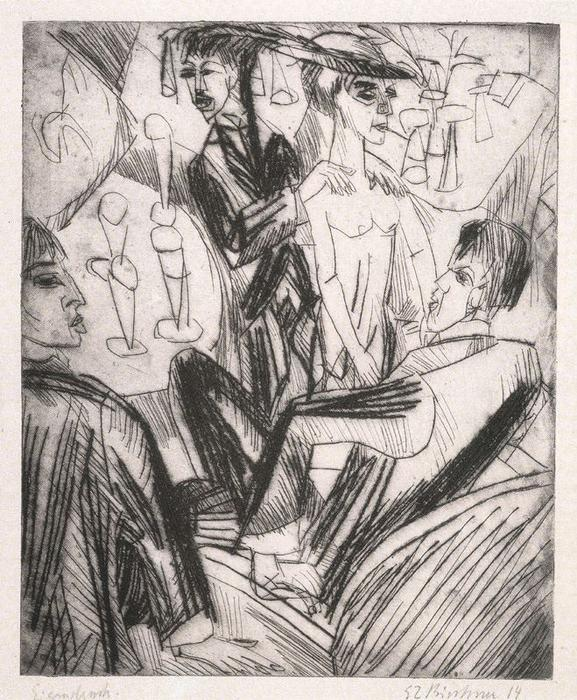 Dance scene at the bar by Ernst Ludwig Kirchner (1880-1938, Germany) | Famous Paintings Reproductions | WahooArt.com