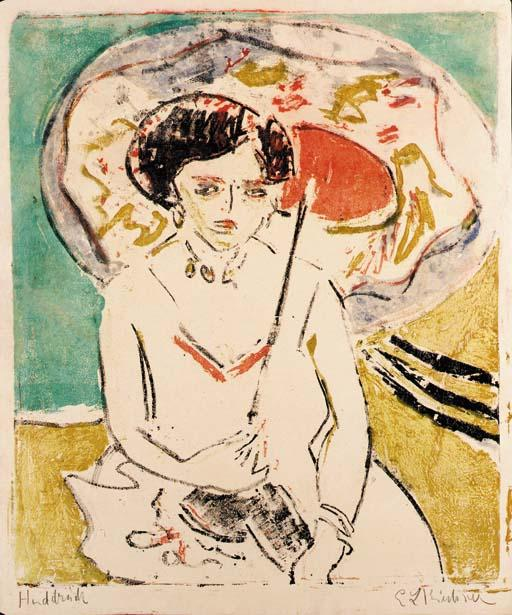 Dodo with a Japanese Umbrella, 1909 by Ernst Ludwig Kirchner (1880-1938, Germany) | Painting Copy | WahooArt.com