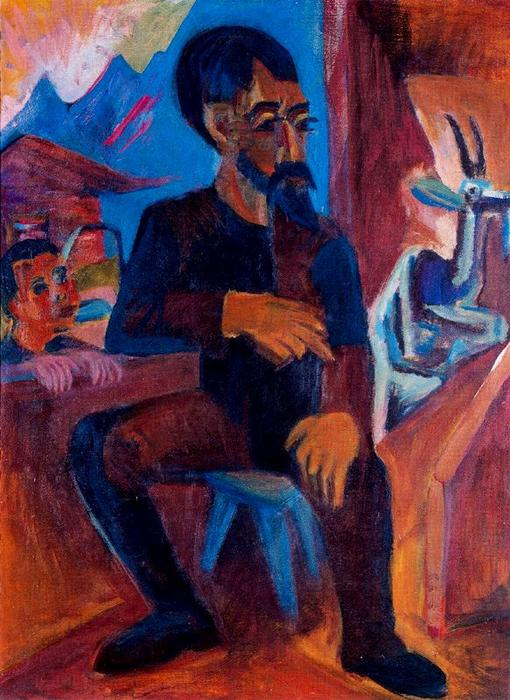 Farmer in the barn by Ernst Ludwig Kirchner (1880-1938, Germany)