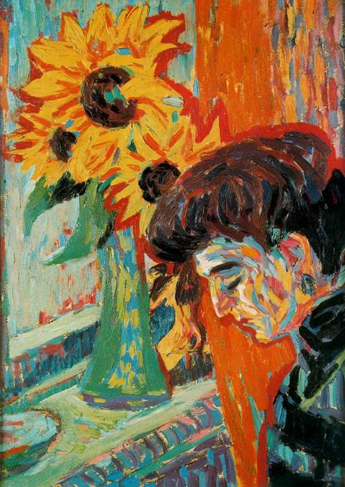 Female head in front of sunflowers by Ernst Ludwig Kirchner (1880-1938, Germany) | Painting Copy | WahooArt.com