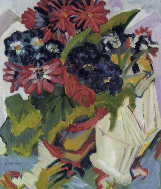 Flower pot and sugar bowl, flowers by Ernst Ludwig Kirchner (1880-1938, Germany) | WahooArt.com