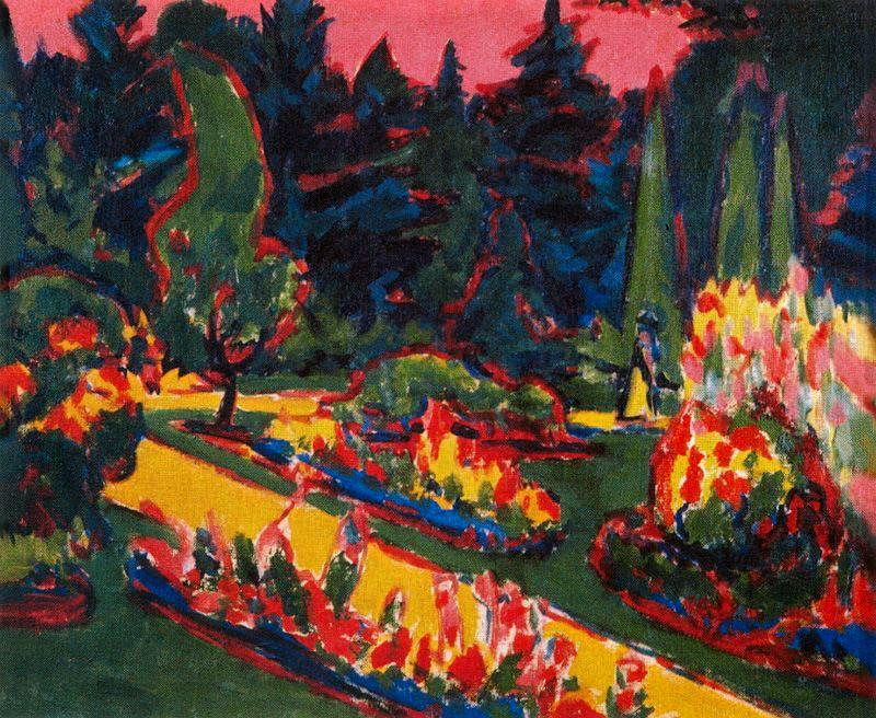 Flowerbeds in the park in Dresden by Ernst Ludwig Kirchner (1880-1938, Germany)