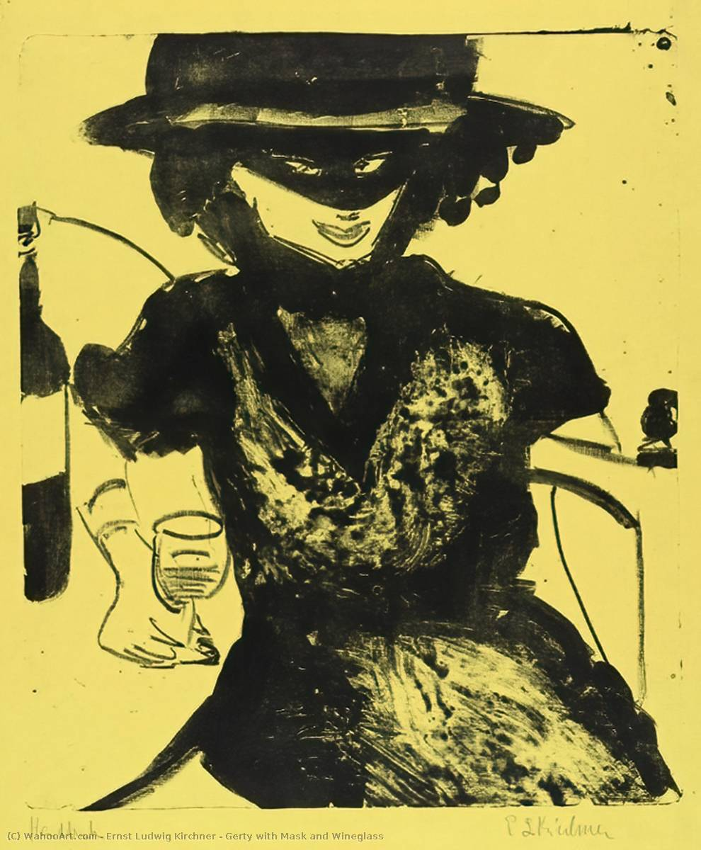 Gerty with Mask and Wineglass, Lithography by Ernst Ludwig Kirchner (1880-1938, Germany)