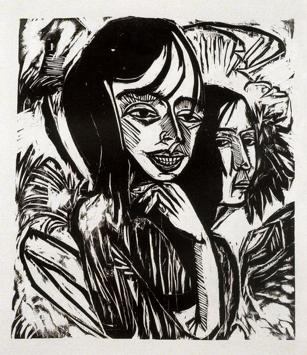 Girls from Fehmarn by Ernst Ludwig Kirchner (1880-1938, Germany)