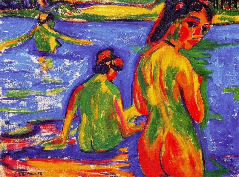 Girls who bathe in the lake by Ernst Ludwig Kirchner (1880-1938, Germany) | WahooArt.com