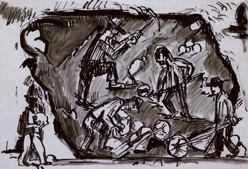 Gravel mining in the gravel pit in Wildboden, Davos by Ernst Ludwig Kirchner (1880-1938, Germany) | WahooArt.com
