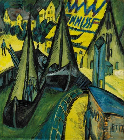 Hafen Burgstaaken, Fehmarn, Oil, Watercolour by Ernst Ludwig Kirchner (1880-1938, Germany)
