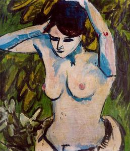 Ernst Ludwig Kirchner - Half naked figure with arms raised