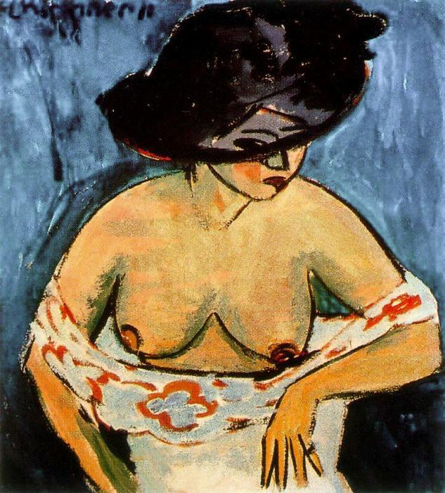 Half-naked woman with hat by Ernst Ludwig Kirchner (1880-1938, Germany) | WahooArt.com